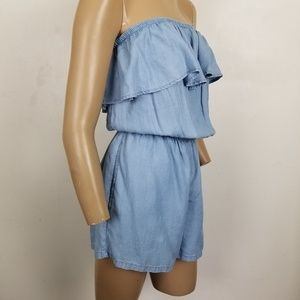 Aerie Strapless Chambray Ruffle Romper S